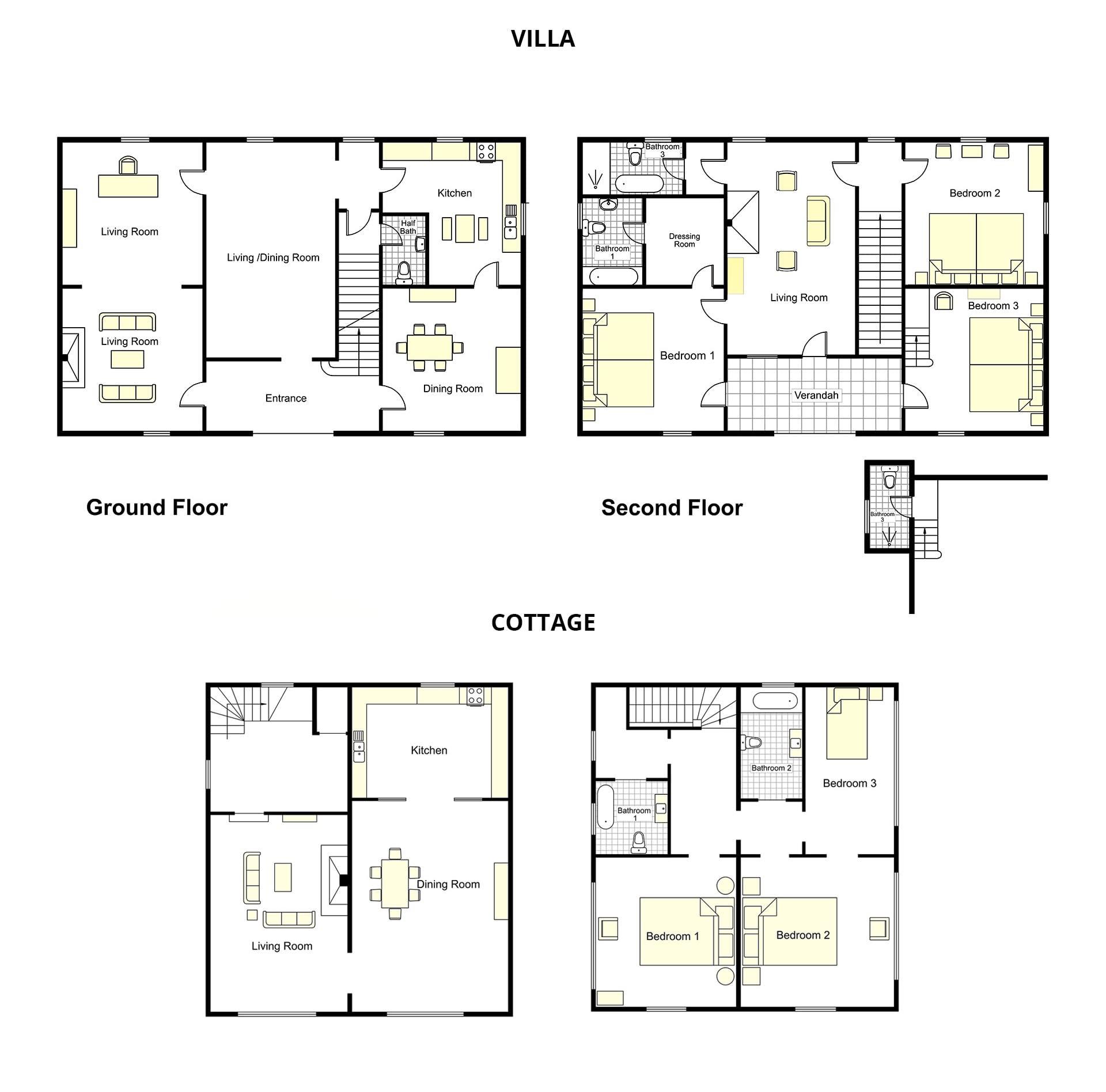 Aquila Villa + Cottage Floorplan