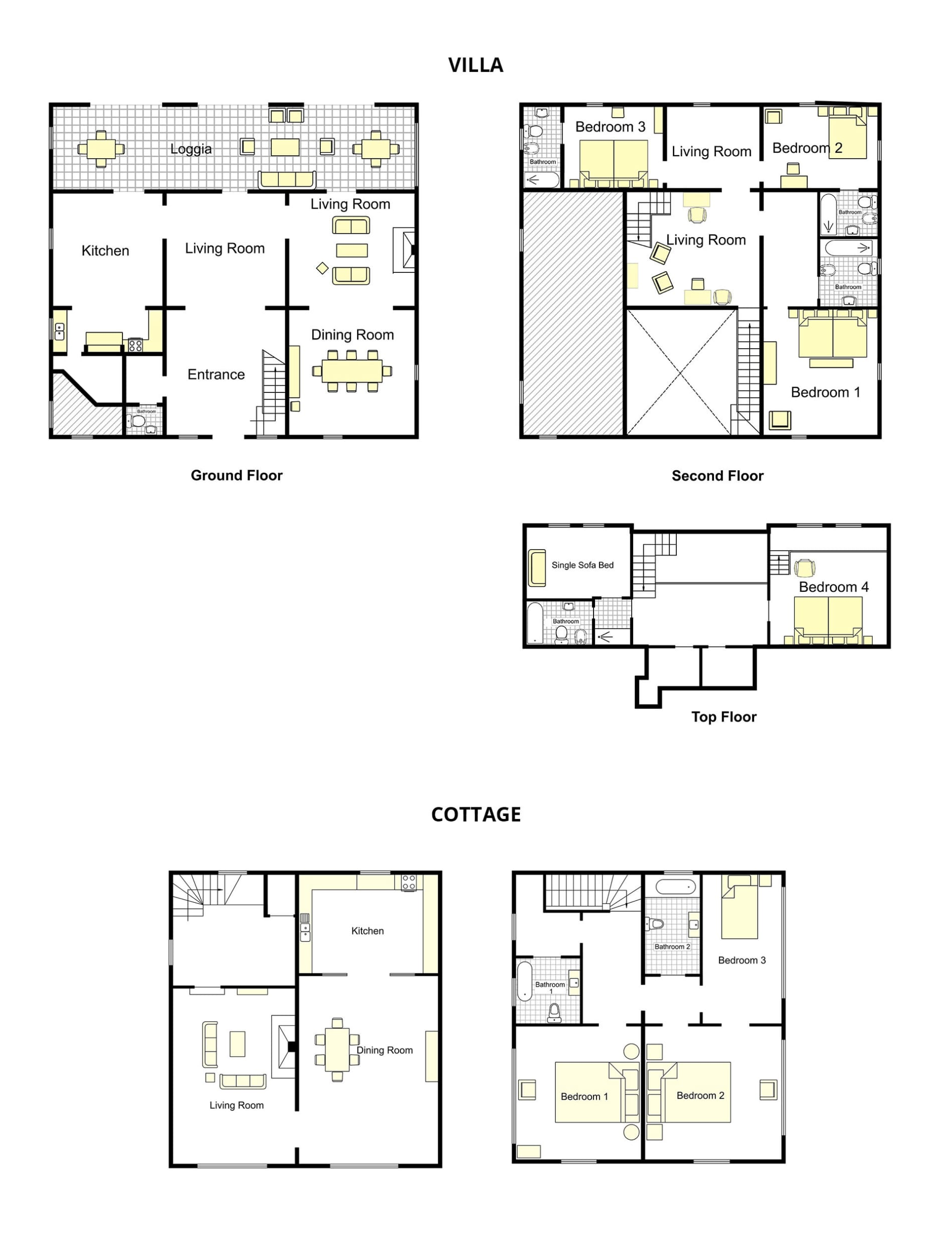 Tucano Villa + Cottage Floorplan