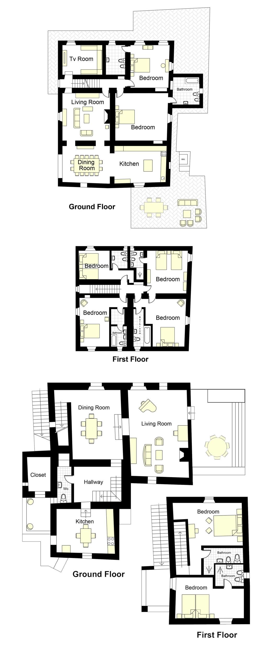 La Rosetta Villa + Cottage Floorplan